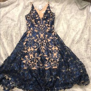 Dress tan under dress with blue sequin size S